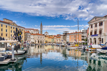 Looking across the marina in the town of Piran in Slovenia