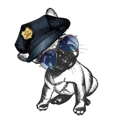 Vector close up portrait of police dog.French bulldog puppy wearing the peak cap and sunglasses.