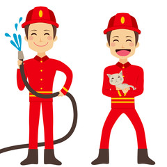 Happy fireman working holding hose with flowing water and rescuing cat