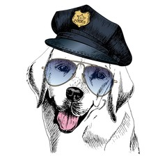 Vector close up portrait of police dog. Labrador retriever wearing the peak cap and sunglasses.