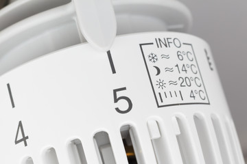 Thermostat set to highest temperature, symbol for wasting energy