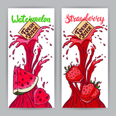 banners of watermelon and strawberries juice