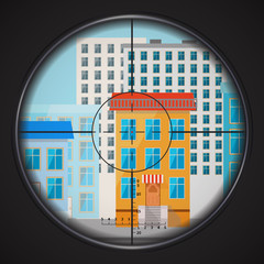 Sniper takes aim at house window, square flat illustration