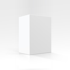 Blank White Vertical Rectangular Carton box in Perspective for package design Close up Isolated on White Background