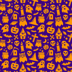Halloween seamless pattern in orange and violet colors. Vector spooky background with pumpkin, bats, ghost and skull holiday symbols.