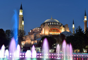 The Hagia Sophia is a domed monument built as a cathedral and is now a museum, Istanbul