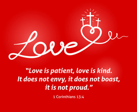 Christian Love scripture with heart and cross on red background