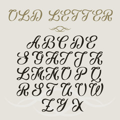 Hand drawn vector vintage typeface. Old style font on bright background