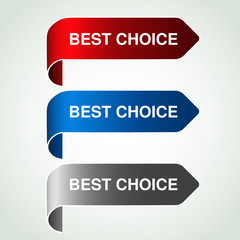 Vector arrow buttons with best choice. Silver, blue and red bent ribbon, simple stickers on your product.