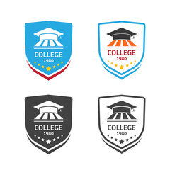 University emblem vector illustration isolated on white background, concept of school crest emblem, college coat of arms symbol, colorful and black and white seal style
