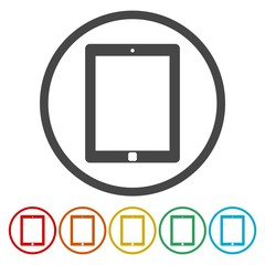 Tablet PC. Single flat icon on the circle