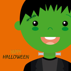 Happy halloween card. child face frankenstein