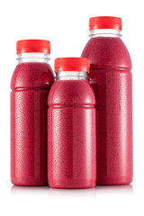 Red smoothie in three size of bottle