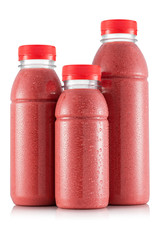 Strawberry smoothie in three size of bottle