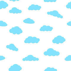 seamless pattern of clouds on white sky