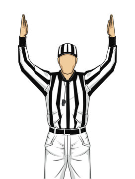 American football referee with both hands up as a touchdown vect