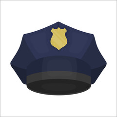 Police cap icon in cartoon style isolated on white background. Hats symbol stock vector illustration.