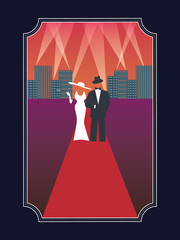 Academy awards hollywood poster with stylish elegant dressed man and woman in simple retro style poster.