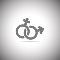Female and male romantic icon. Female and male sign. Gender icon.