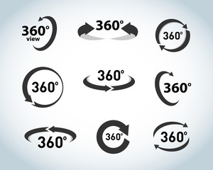 360 Degrees View flat Vector Icons. Black and white version. Isolated vector illustrations.