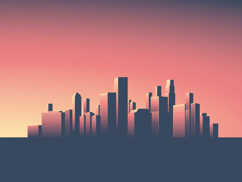 Cityscape vector background. Skyline wallpaper with skyscrapers in sunset or sunrise.