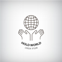 Vector holding world logo, eco, protection of the planet, people rights, global icon.