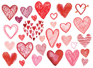 Vector set of hand drawn doodle hearts isolated.