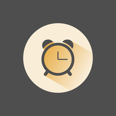 Alarm clock icon with shadow on yellow circle
