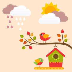 autumn birds and birdhouse on a branch vector