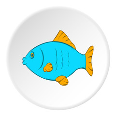 Fish icon in cartoon style on white circle background. Seafood symbol vector illustration
