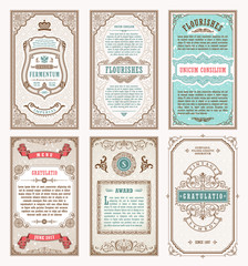Vintage set retro cards. Template greeting card wedding invitation. Line calligraphic frames