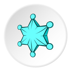 Six pointed star icon in cartoon style on white circle background. Figure symbol vector illustration