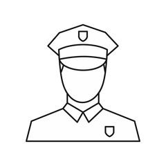Policeman icon in outline style isolated on white background. Job symbol vector illustration