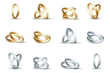 Vector wedding rings. Gold and silver ring isolated on white background