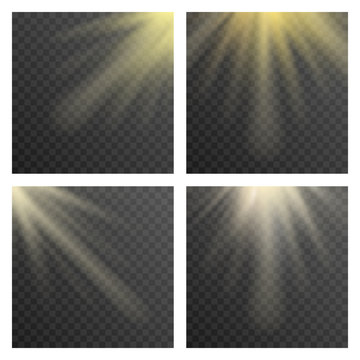 Sun beams or rays on transparent checkered background vector illustration