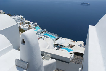 Beautiful white architecture of Oia village on Santorini island, Greece