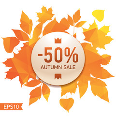 Golden autumn, seasons sale, market, -50%, leaves of bouquet, orange triangular background, abstract vector design art