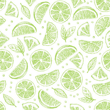 Seamless vector pattern with hand drawn pieses of lime.