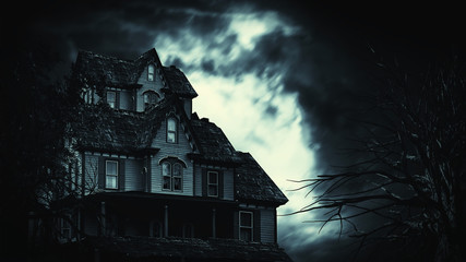 scary house in mysterious horror forest