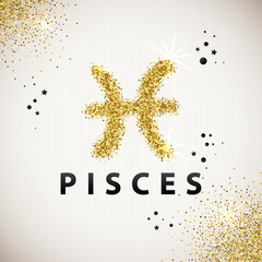 Horoscope predicts your destiny. Zodiac Sign Gold Tinsel, scattered on white background. Black circles and stars and patches of light. Golden Glitter Particle. Trendy Gold Glitter Texture