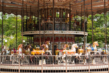 carousel horse ride at amusement park