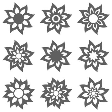 Abstract flower.Ornament Pattern.Decorative element collection.