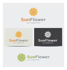 Logo Soleil Fleur Carte de Visite et Charte Graphique Entreprise Plusieurs Couleurs