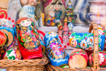 Display of colorful matryoshkas (russian dolls) in Moscow, Russia