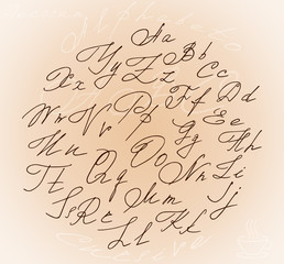 Graceful stylized letters cursive alphabet inside the circle, and the bonus of a steaming Cup of coffee