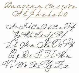 Elegant cursive alphabet letters with scrolls in the Rococo style