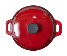 Aerial view of a red cooking pot isolated on a white background