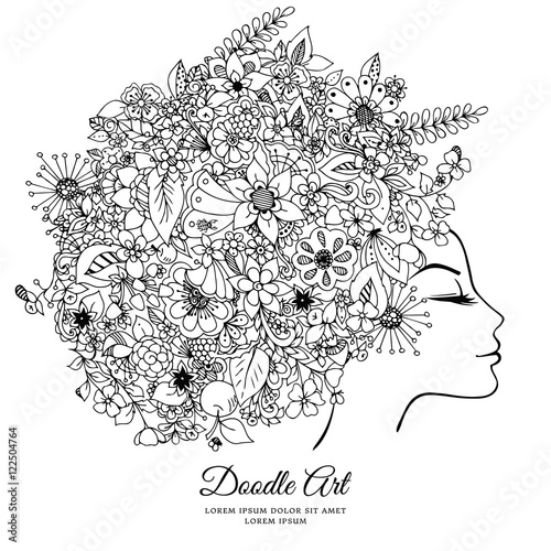 Vector Illustration Zentangl Girl With Flowers In Her