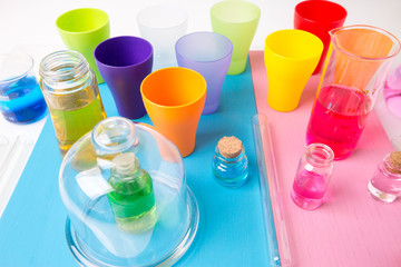 laboratory test tubes and flasks with colored liquids. Laborator