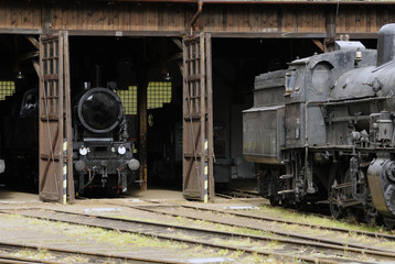 Old Vintage Steam Locomotives At The Train Depot
